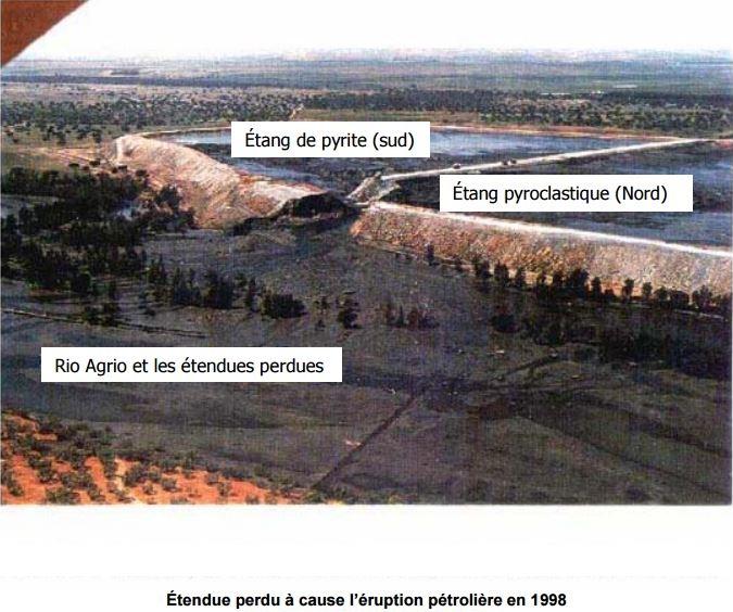 Étendue perdu à cause l'éruption pétrolière en 1998