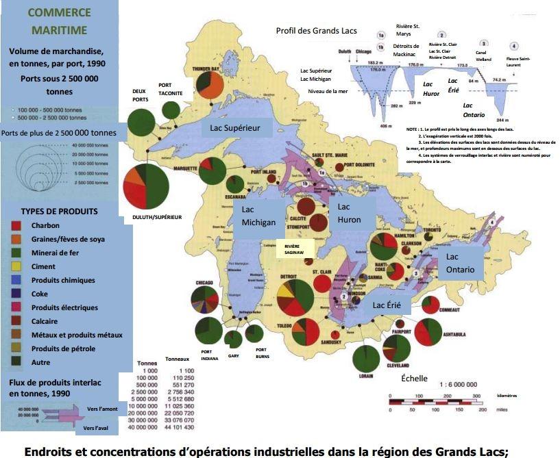 Endroits et concentrations d'opérations industrielles dans la région des Grands Lacs