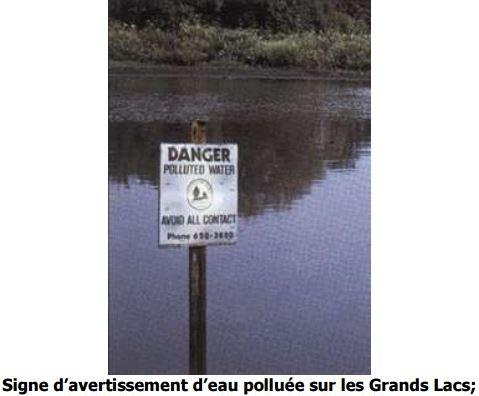 Signe d'avertissement d'eau polluée sur les Grands Lacs
