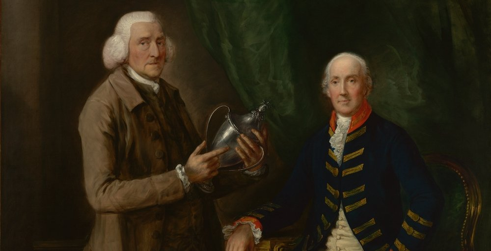Portrait of William Anne Hollis, 4th Earl of Essex, Presenting a Cup to Thomas Clutterbuck of Watford  by Thomas Gainsborough. Image Courtesy of the Getty's Open Content Program.