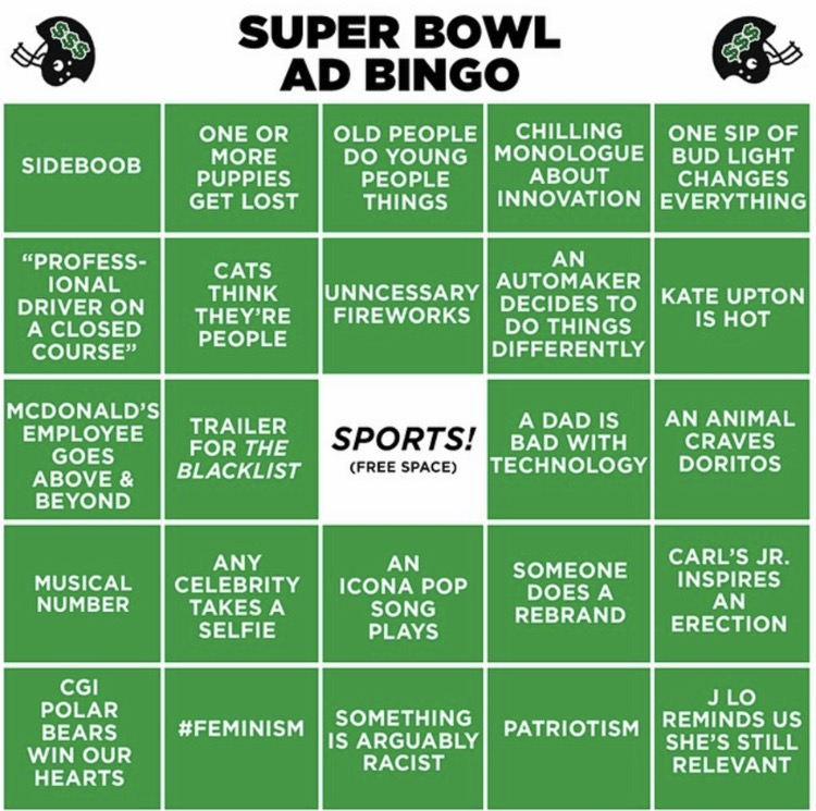 My bingo card from 2015, which actually makes me want to throw up.