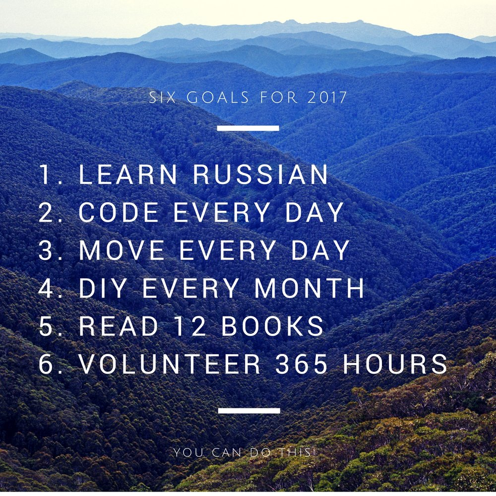 My 2017 goals for the year.