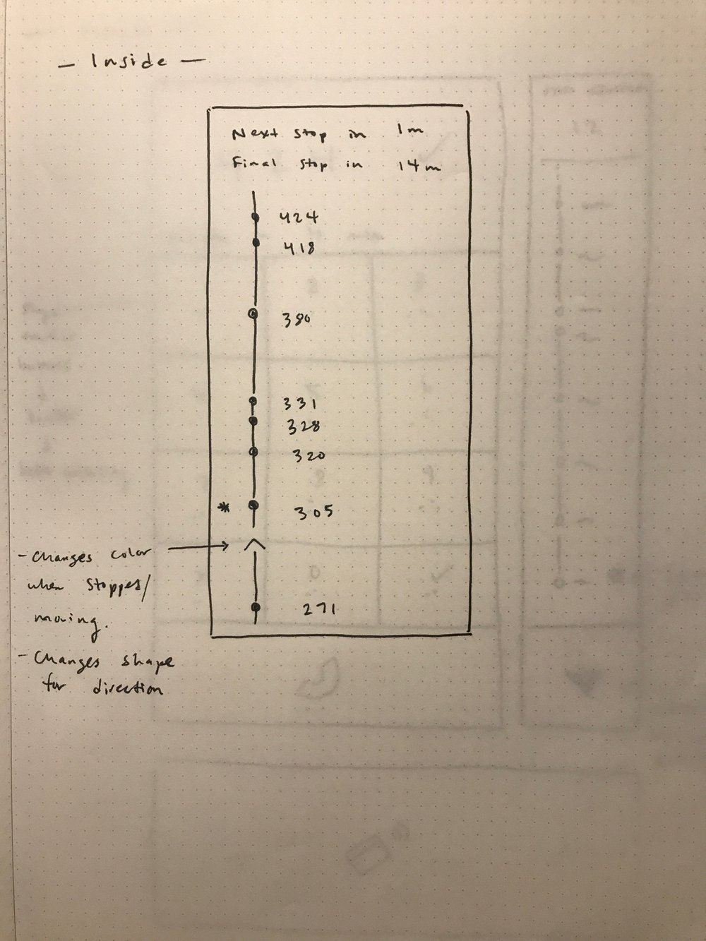 An early wireframe for part of the interior interface.