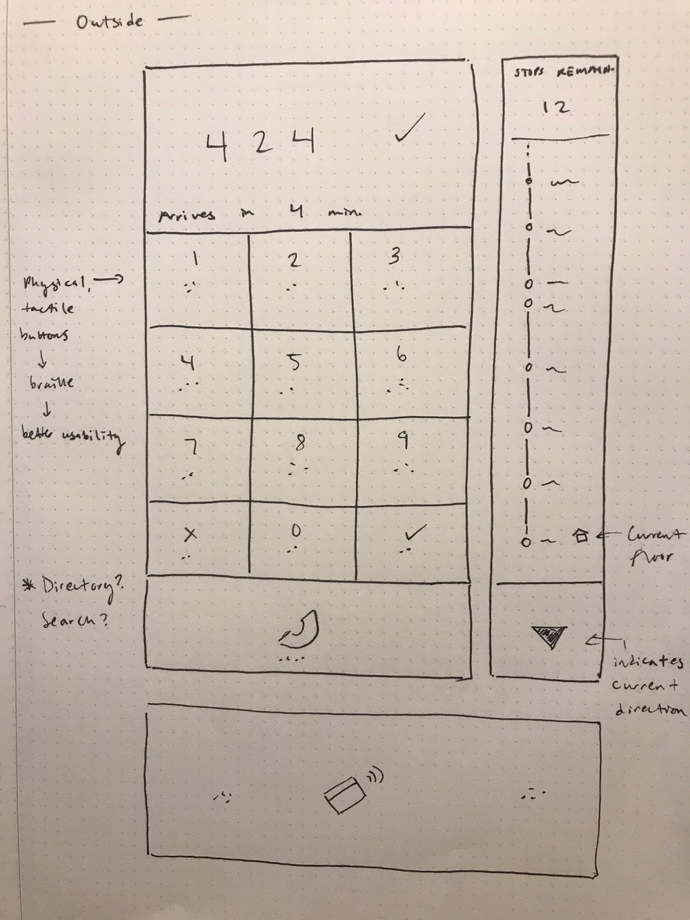 Early wireframe for the outside interface.