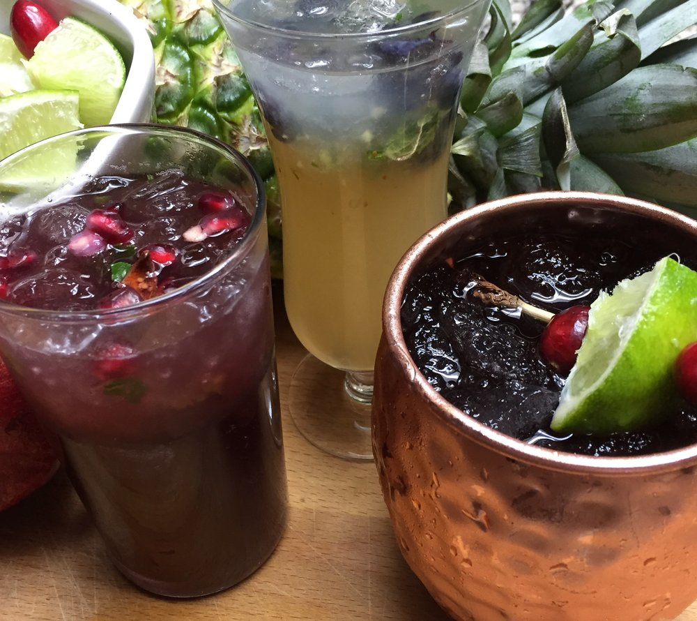 "From left:  Rosemary Pomegranate ""Faux""hito, The Jack Frost & The Cranberry Mule Mocktails"