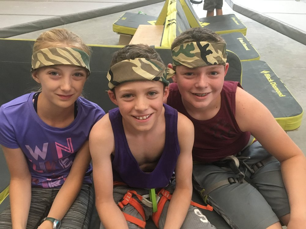 Kiddos having a great time with their matching camo bandanas!