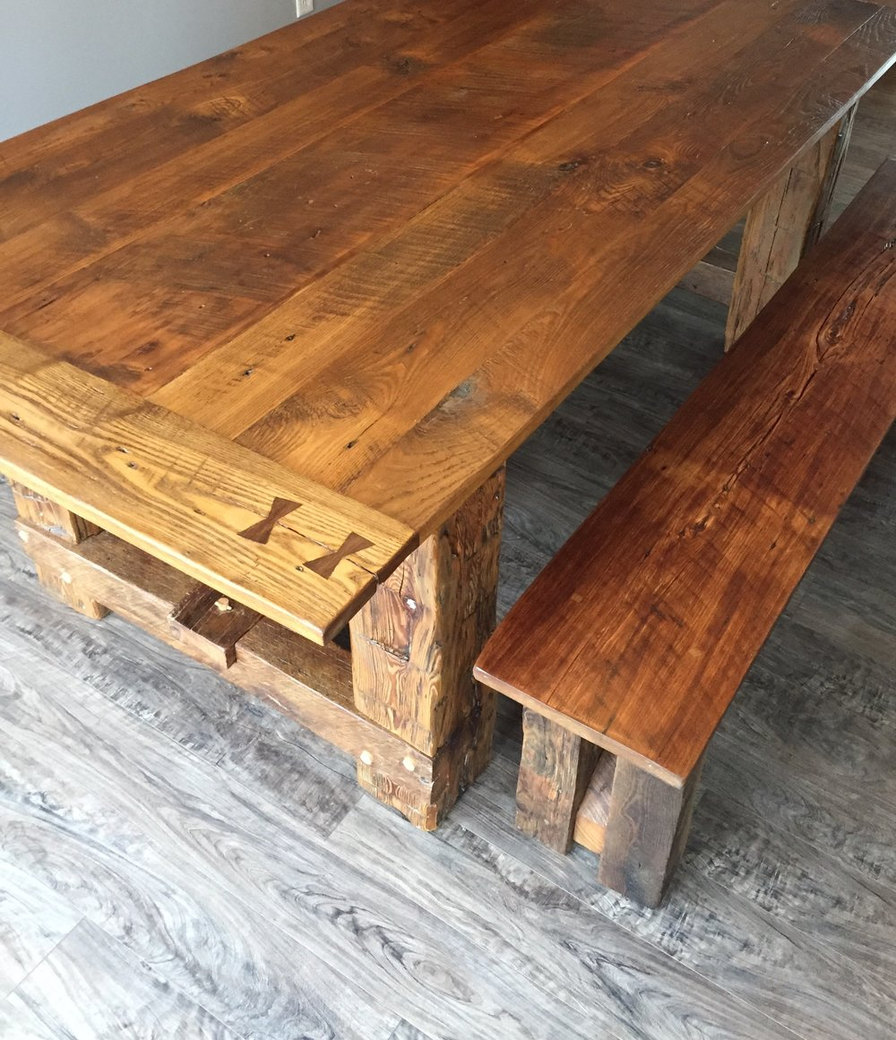 This 7ft Dining Table Is Made From Solid Oak That Has Been Reclaimed From A  Local