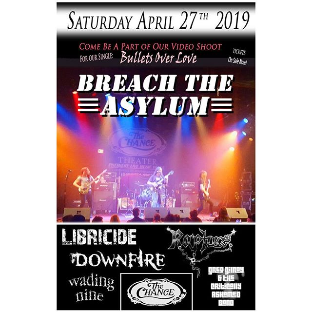 (2/2:) We've got some GREAT dates coming up this month: - SATURDAY, 4/27 –@vern_breach_the_asylum Music Video / @libricide Live Video Shoot at @The Chance Theatre, Poughkeepsie, NY. w/ @rapturebandofficial, @downfireband, @wadingnine & more!! - Be sure to join us for one (or both) – we'll see you at the show(s)!!! 🤟🎶🔥 - #libricide #livemusic #spring #shows #tour #dates #rock #metal #alternative #pop #hiphop #music #fuson #movement #performance #artist #band #musician #singer #songwriter #entertainer #production #flyer #promo #poughkeepsie #thechance #nyc #newyorkcity #newyork #NY