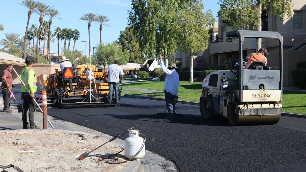 """Laying 2"""" Of Asphalt (Overlay) And Compacting Asphalt"""