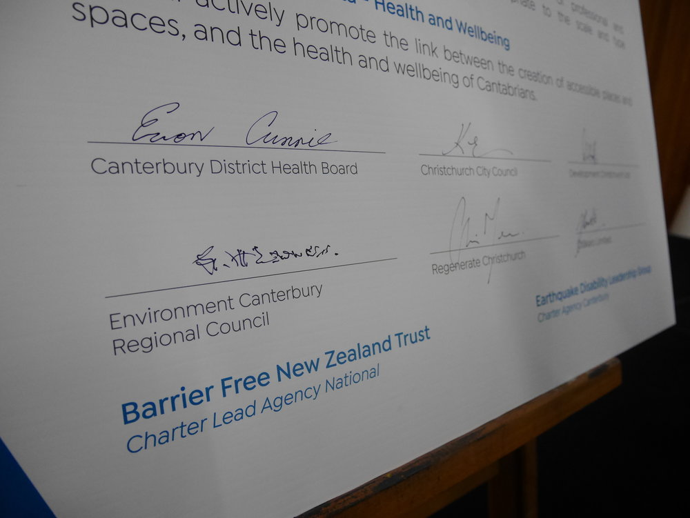 Foundation signatories of the Charter: Canterbury District Health Board, Christchurch City Council, Development Christchurch Limited, Environment Canterbury Regional Council, Ōtakaro Limited, and Regenerate Christchurch
