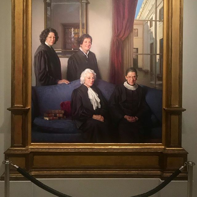 """The Four Justices"" by Nelson Shanks hangs in the Smithsonian National Portrait Gallery in a hallway that leads to the gallery's beloved collection of portraits of the American Presidents. There may not yet be a woman hanging in the Presidents' gallery, but four women, Sandra Day O'Connor (born in 1930, nominated to the Supreme Court in 1981, retired in 2006), Ruth Bader Ginsberg (born in 1933, nominated to the Supreme Court in 1993), Sonia Sotomayor (born in 1954, nominated to the Supreme Court in 2009), and Elena Kagan (born in 1960, nominated to the Supreme Court in 2010) who are individually remarkable, strong, accomplished, and inspiring, collectively remind museum visitors that broad change happens when we work together to create a harmony of our voices, values, and ideas. #bethechange"