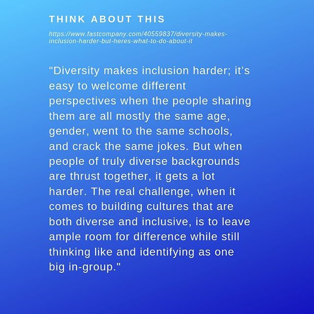 We need diversity to achieve real inclusion. #bethechange