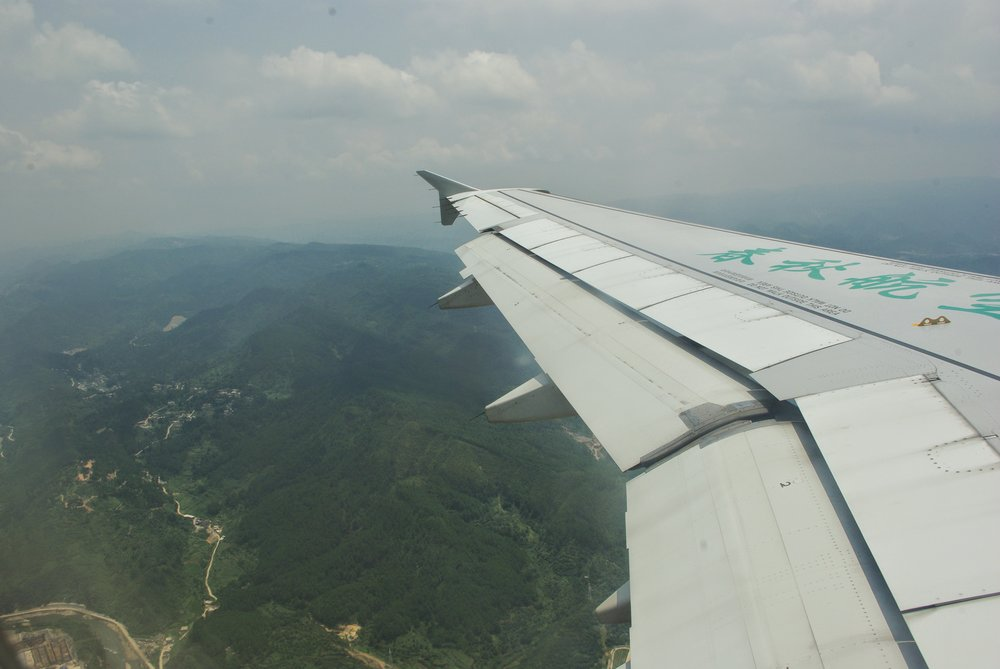A flight across hazy Southern China