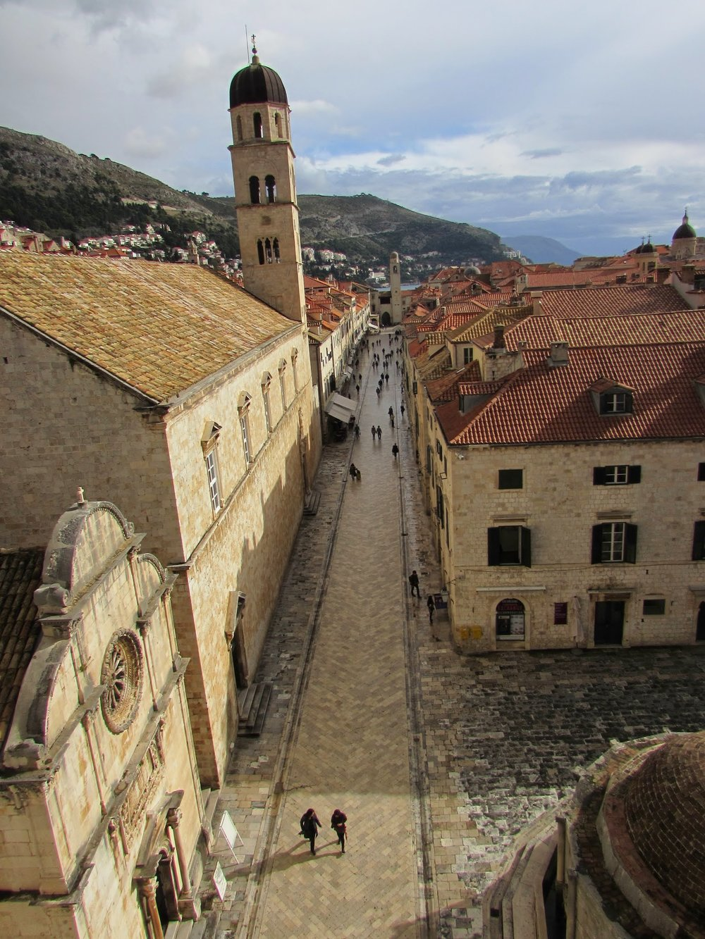 You can walk the walls of the city, a very touristy thing to do. But definitely worth it for views like this one, of Dubrovnik's main street Stradun. Also, we barely encountered another person since we were there in the very off-season of late November.