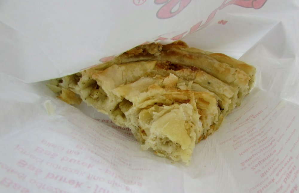 This is a potato burek slice from a bakery near Dolac Market in Zagreb.