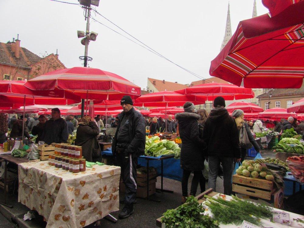 Dolac Market in Zagreb.