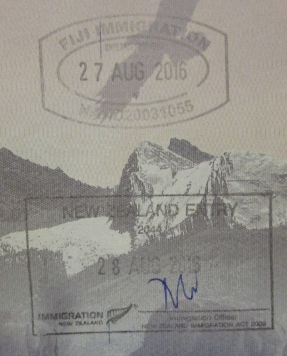 My passport stamps leaving Fiji and entering New Zealand