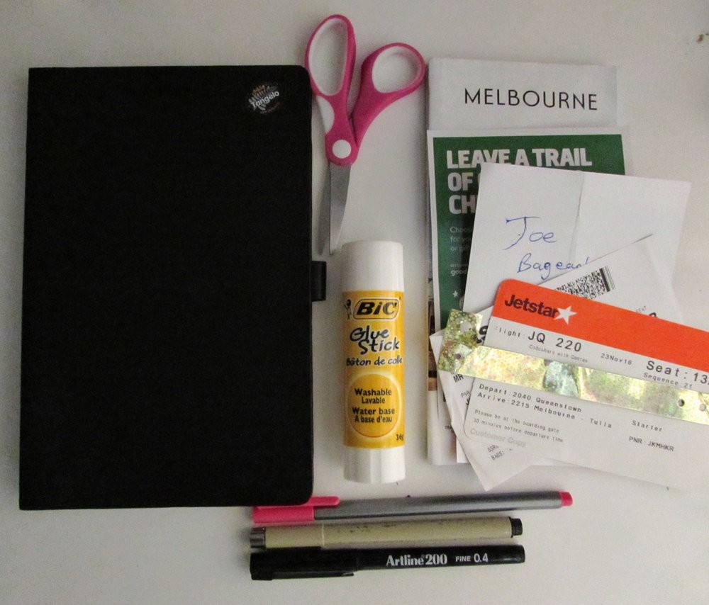 My journaling supplies: the journal itself, a glue stick, scissors, souvenirs to paste, a few pens.