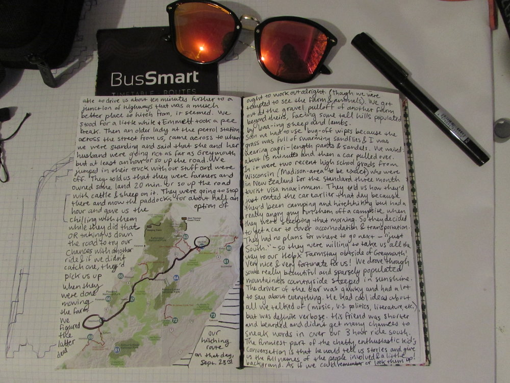 An entry in my first journal of the New Zealand trip featuring a map of the top half of the South Island with a drawn line noting our hitch-hiking route for that day.
