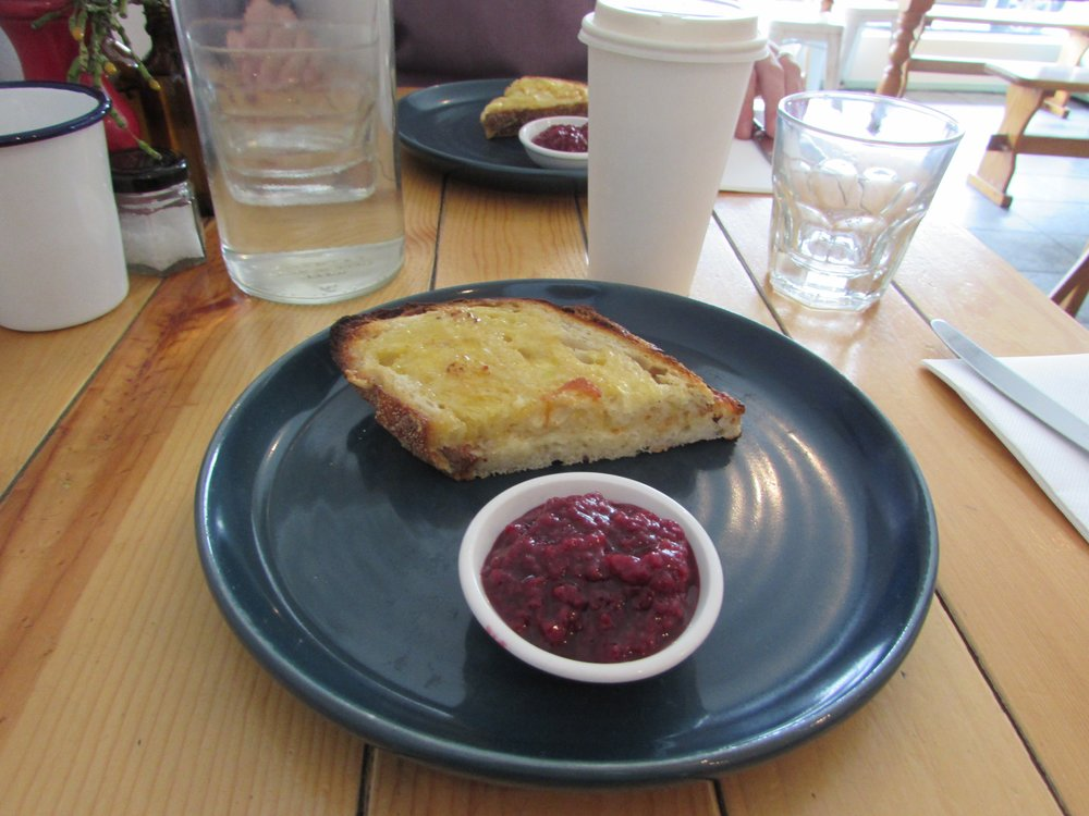 We ate the three-cheese toastie at  Brother Alec   twice  while we were in Melbourne. It was that yum. The first time: we each got one. The second time: we split a toastie and asked for a side of raspberry jam. Delicious combo, btw. Also the second time here, I had an excellent chai latte.