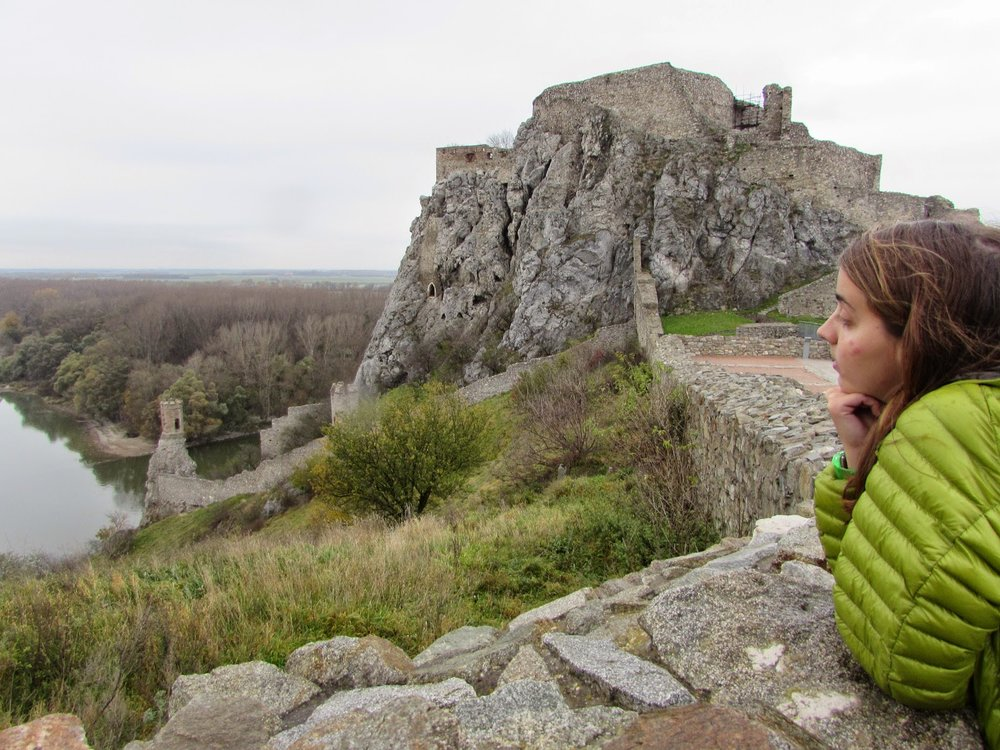 Daydreaming of bite-free skin at the Castle Devin ruins outside of Bratislava. If you look closely, you can see three bites on my cheek.