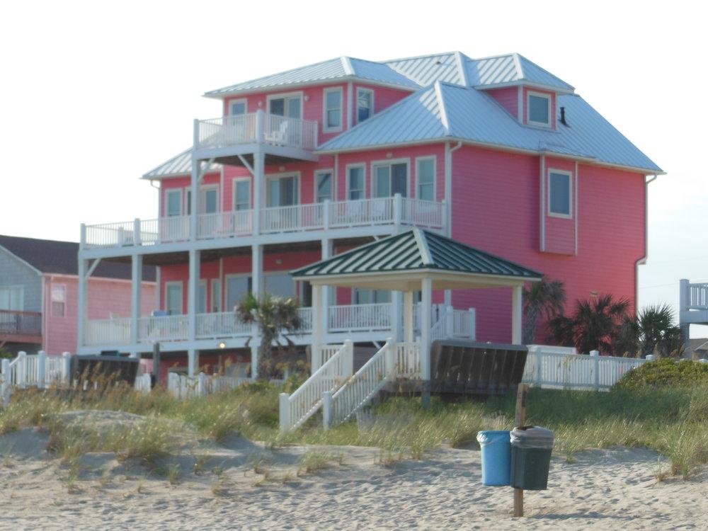 Pink beach house, North Carolina