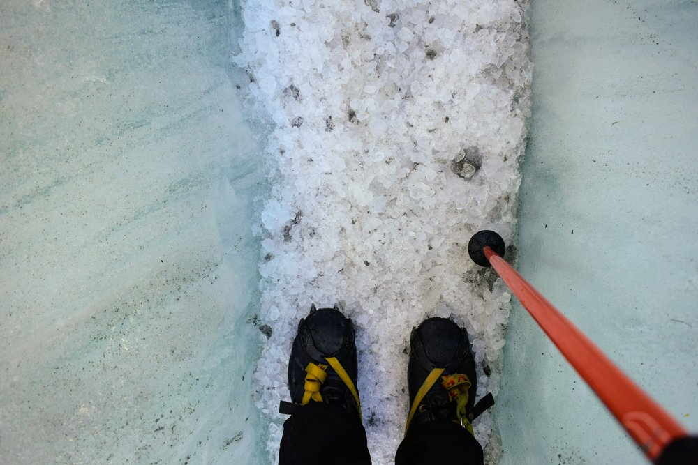 One of many chipped ice crevasse trails made by our guides.