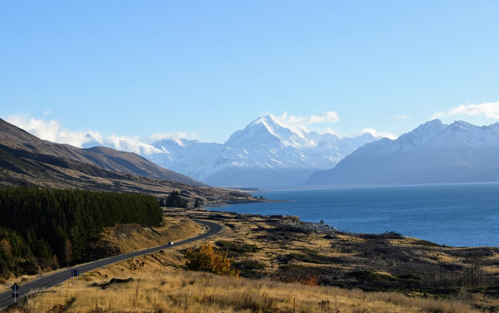 Mt. Cook as seen from Peter's Lookout on SH80. Lake Pukaki is to the right of the photo.