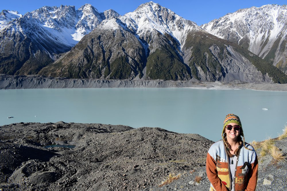 The glacial moraine lake of Tasman Valley behind me.