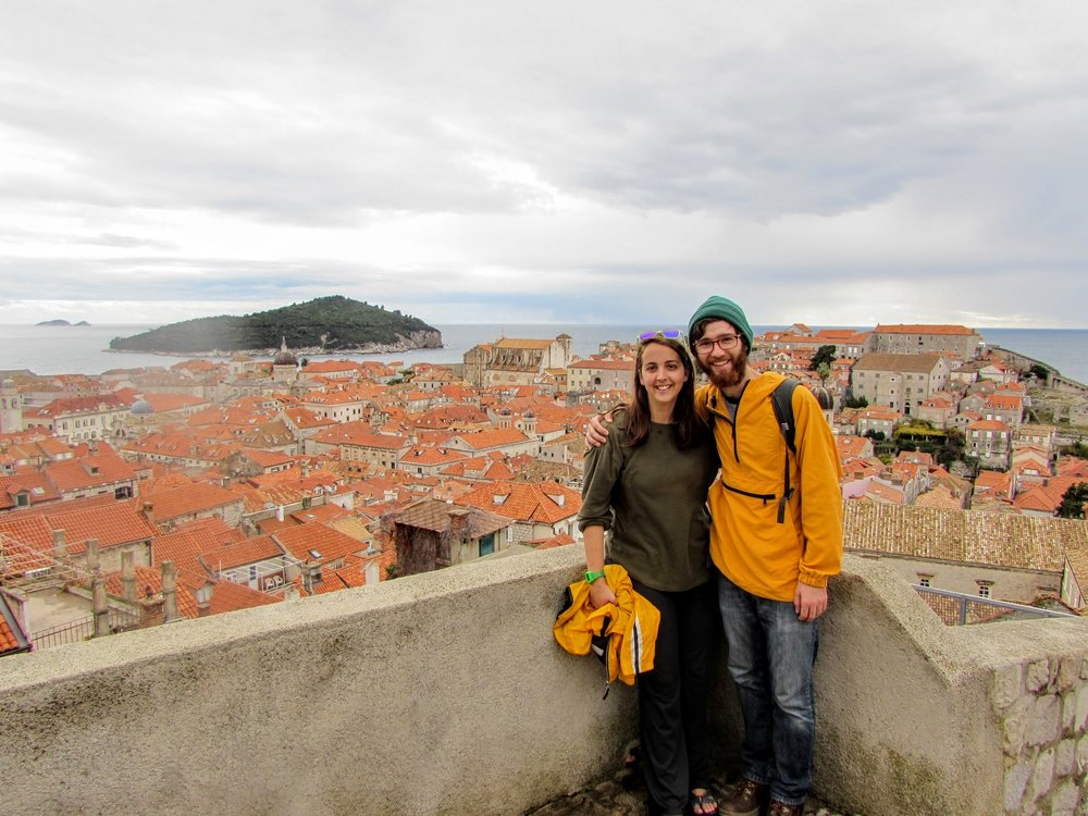 Emmett and I exploring the old walled city of Dubrovnik in Croatia.