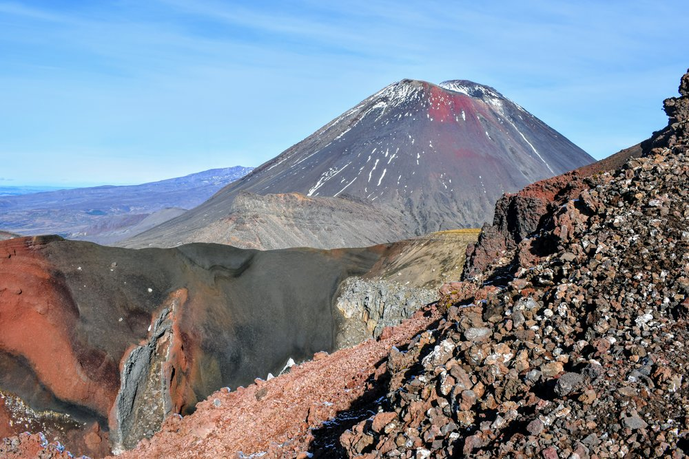 Red Crater in the forefront, Mt. Ngauruhoe in the background, tephra-covered descent on the right.