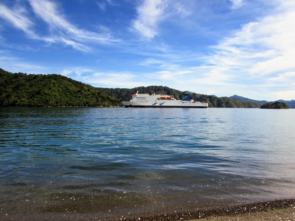 The Interislander ferry arriving in Picton, NZ.