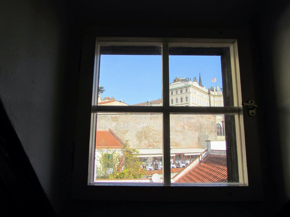 At least the view out of the hostel's bathroom window was of Prague Castle....