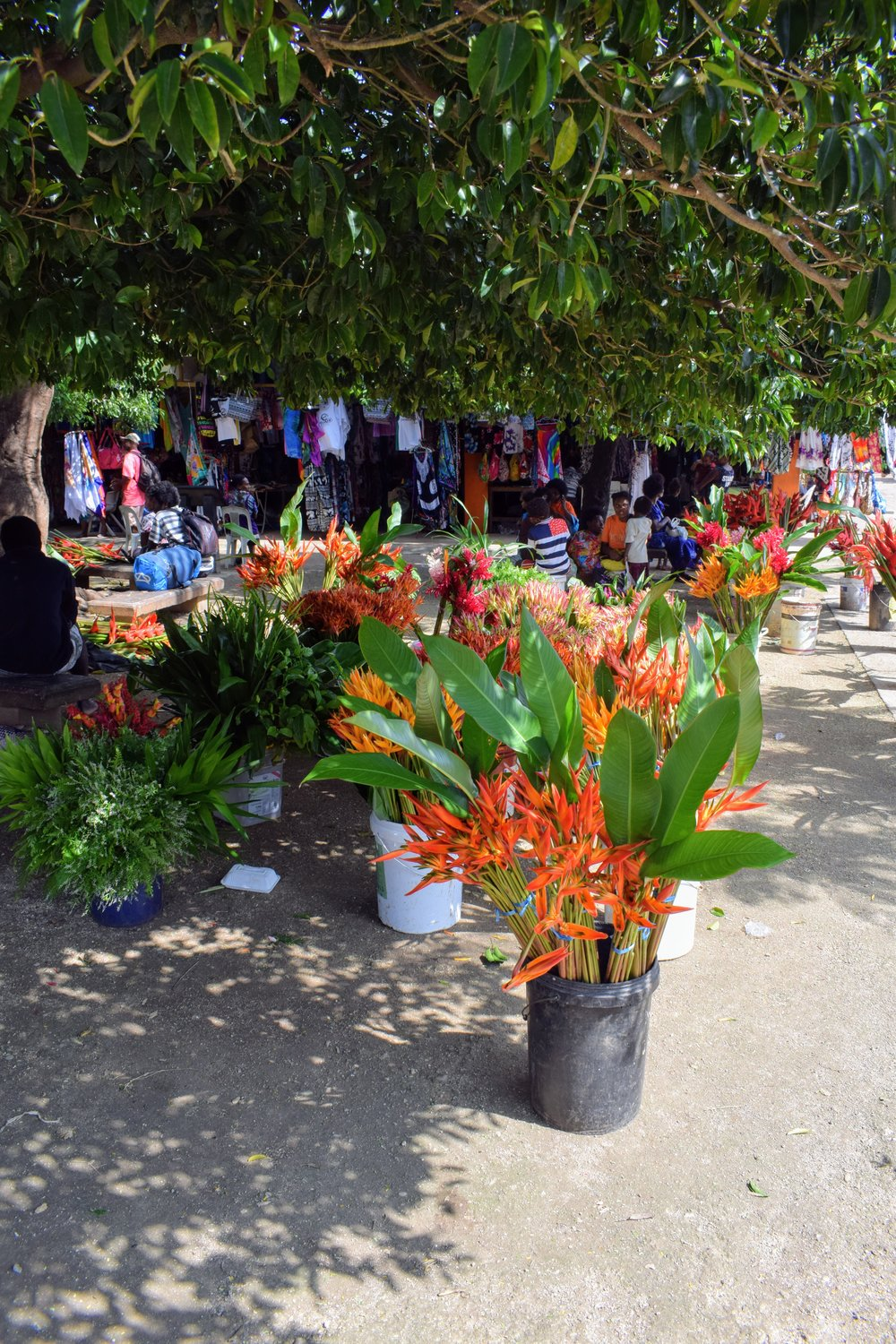 Tropical bouquets for sale outside the craft side of the market.