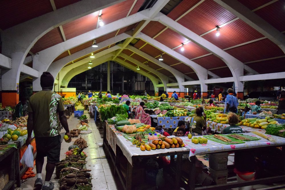 The market at around 7 PM.