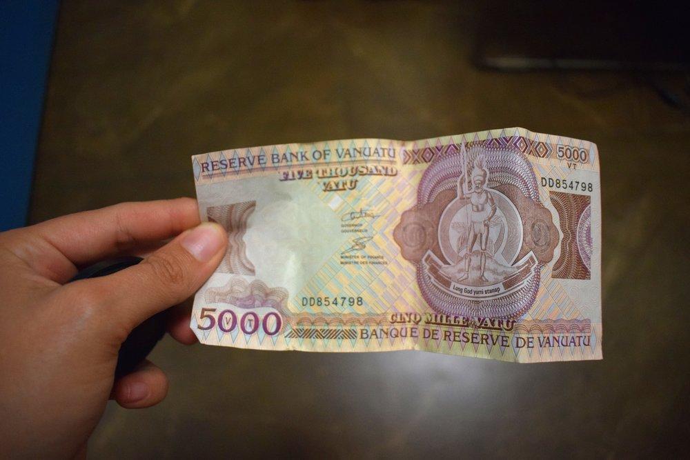 5000 vatu aka 46 USD aka 60 AUD.