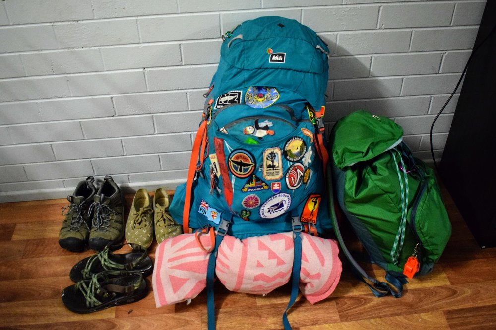 My packs, all packed up! (Minus my Keds and sandals which soon went into the big pack). I had just realized my shoes weren't in any photos yet before I took this.  Also that's a Fiji Air blanket that we didn't steal, promise. We found it at the backpackers we worked at in Invercargill.