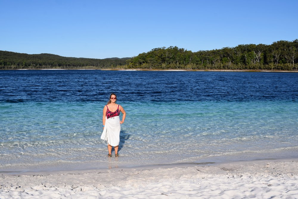 Overwhelmed by the picturesque Lake Mckenzie.