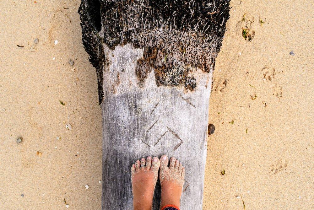 July 12, the sandy side of  Pele Island.