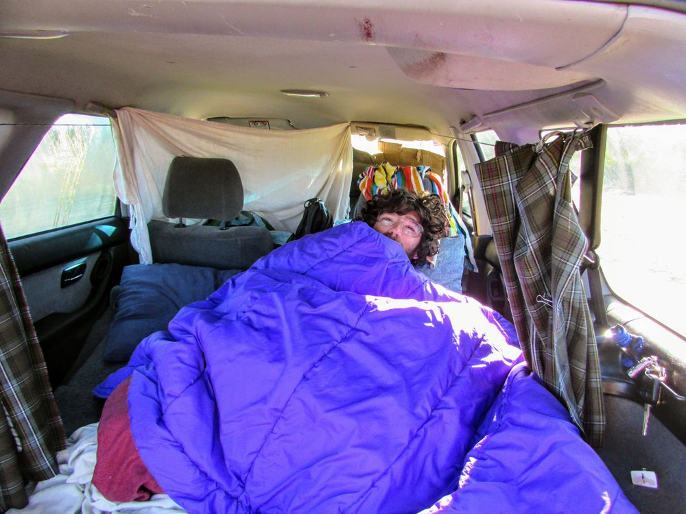 Emmett looking startled in the back of the car first thing in the morning. Note our DIY curtains and the big purple sleeping bag.
