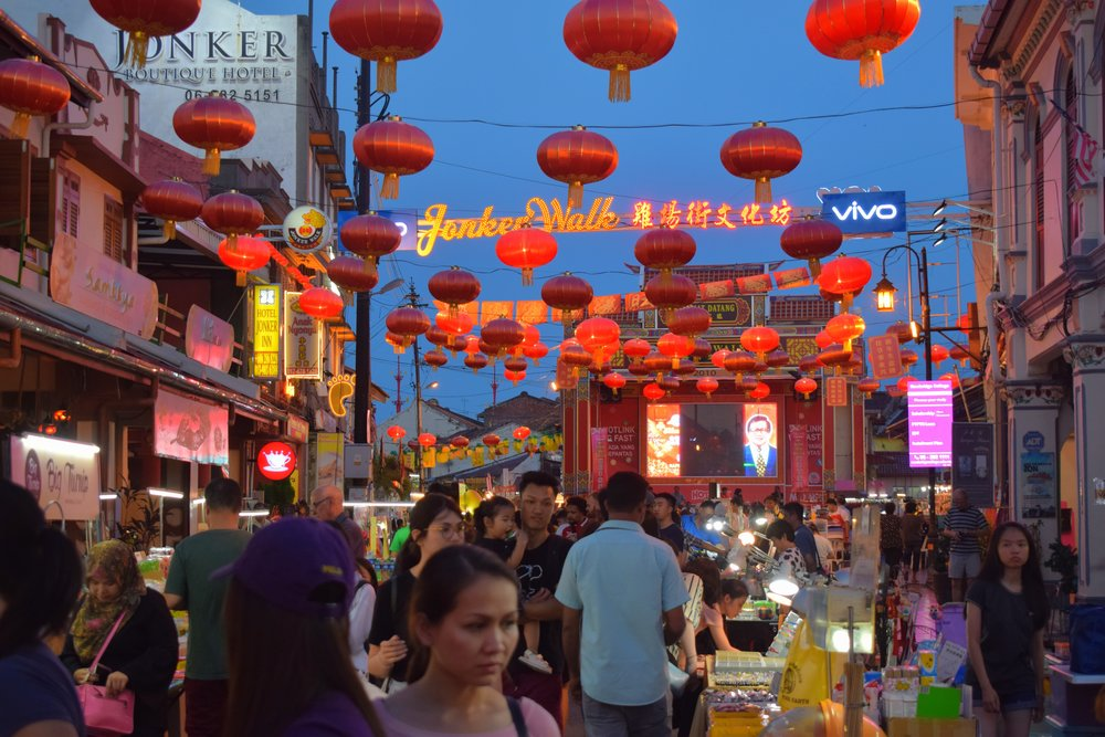 Jonker Walk at sundown - a crowded and sensory-overloaded place.