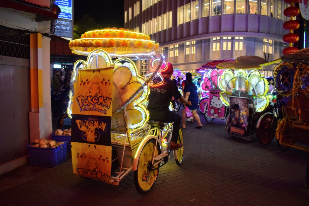 These visually loud rickshaws were also literally loud, blasting bass-heavy dance music as the trawled the streets for passengers.