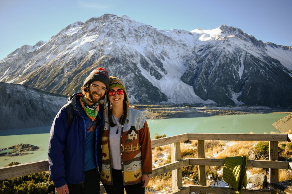 With my partner Emmett in Mount Cook National Park, New Zealand
