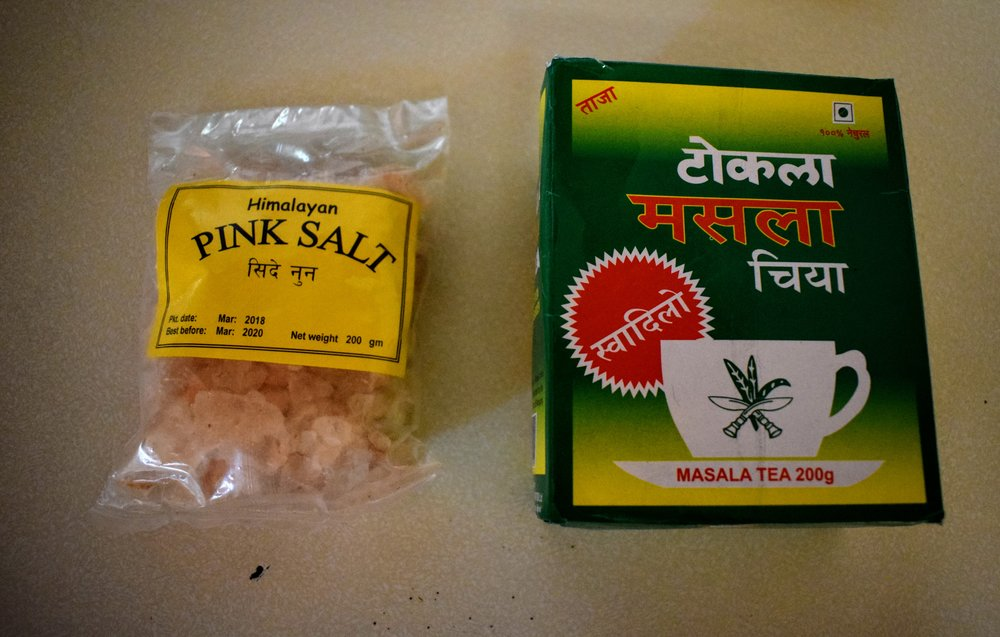Two of my souvenirs: Himalayan pink salt crystals and Nepali Masala Chai.