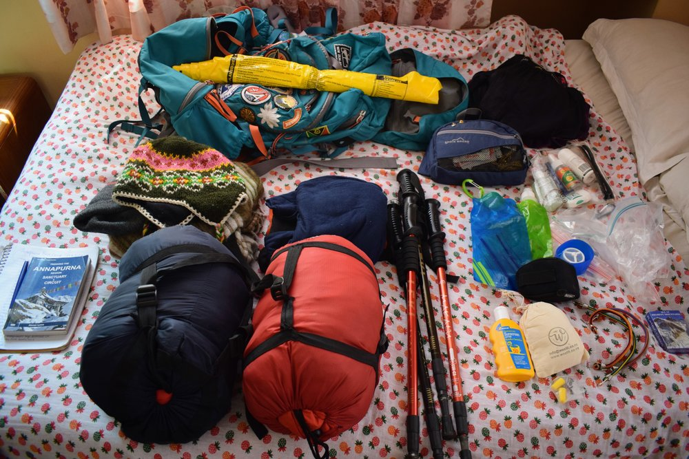 Emmett and I rented those sleeping bags and trekking poles from a shop in Pokhara.
