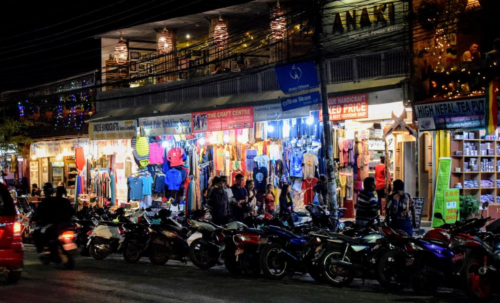 Shops at Lakeside, Pokhara at night.