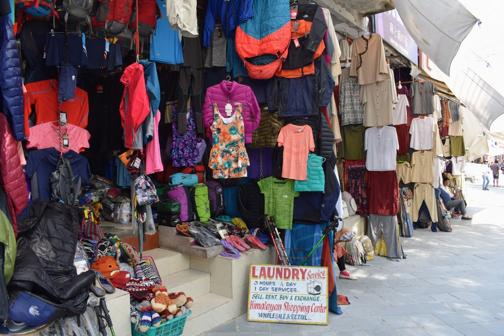 Clothes for sale in Pokhara, Nepal.