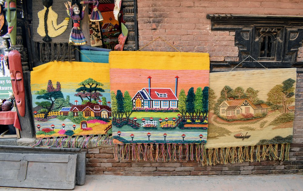 Tapestries for sale in Bhaktapur