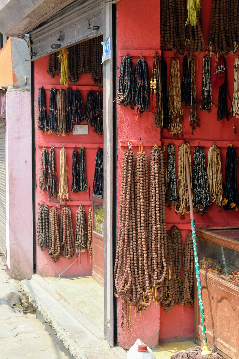 Prayer Beads for sale outside of Swayambhunath