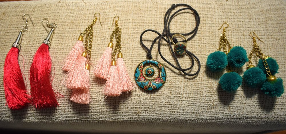 Some fun earrings and Tibetan jewelry that I bought in Thamel, Kathmandu